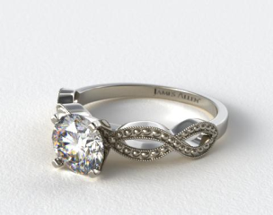 18K White Gold Vintage Infinity Engagement Ring