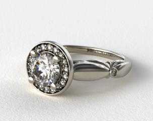 14K White Gold Sculpted Floral Diamond Halo Engagement Ring