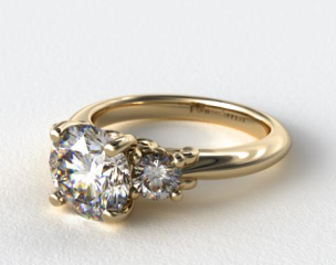 14K Yellow Gold Three Stone Diamond Engagement Ring with Scroll Undergallery