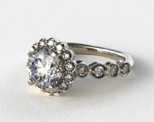 Platinum Diamond Floral Halo Engagment Ring