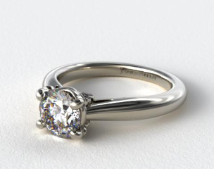 14k White Gold Diamond Studded Bezel Solitaire