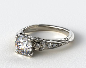 14k White Gold Graduated Pave Engagement Ring