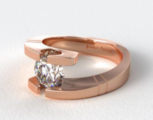 14K Rose Gold Pointed and Etched Tension Set Engagement Ring