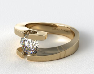 14K Yellow Gold Pointed and Etched Tension Set Engagement Ring
