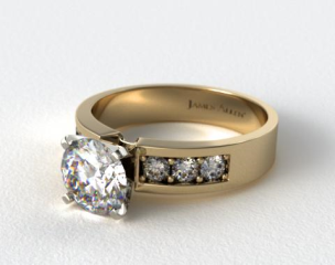 14K Yellow Gold 0.30ct Channel Set Round Shaped Diamond Engagement Ring
