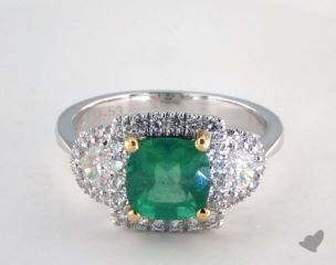 18k Two Tone 1.53ct  Cushion Shape Green Emerald Three Stone Halo Ring