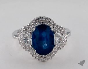18K White Gold Double Halo 3.07ct  Oval Blue Sapphire Ring