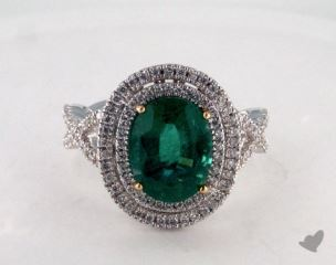 18k two tone - 2.54ct  - Oval - Green Emerald - Gabriella Ring