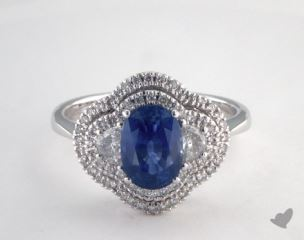 18K White Gold 1.80ct  Oval Blue Sapphire Three Stone Halo Ring