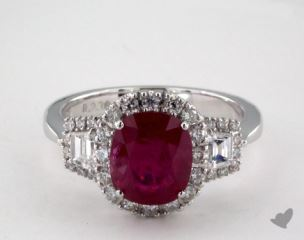18K White Gold 2.38ct Cushion Shape Ruby Three Stone Halo Ring