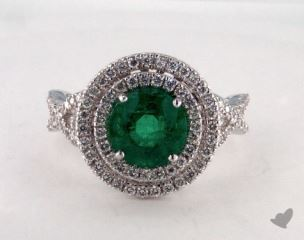 18K White Gold 1.85ct  Round Green Emerald Double Halo Ring
