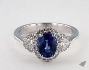 18K White Gold - 1.51ct  - Oval - Blue Sapphire -