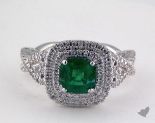 18K White Gold 0.80ct Cushion Shape Green Emerald Helen Ring
