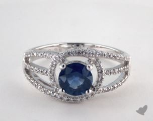 18K White Gold 0.98ct Round Blue Sapphire Open Halo Ring