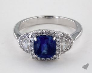 18K White Gold 1.46ct Cushion Shape Blue Sapphire Ring