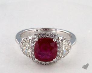 18K White Gold 1.89ct  Cushion Shape Ruby Ring