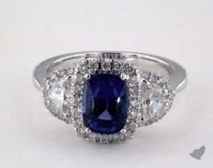 18K White Gold 1.93ct  Cushion Shape Blue Sapphire Ring