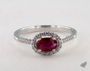 18K White Gold 0.45ct  Oval Shape Ruby Halo Ring