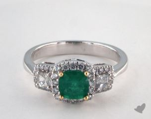 18K Two Tone  0.77ct  Cushion Shape Green Emerald Three Stone Ring