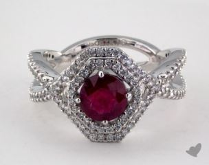 18K White Gold  0.96ct  Round Ruby Asscher Framed Halo Ring