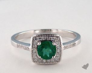 18K White Gold 0.40ct  Round Green Emerald Cushion Frame Ring