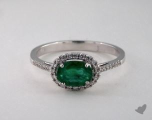 18K White Gold 0.70ct  Oval Shape Green Emerald Halo Ring