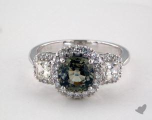 18K White Gold 1.86ct Cushion Shape Green Sapphire Three Stone Ring