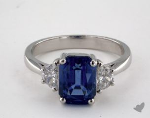 Platinum 3.87ct  Emerald Shape Blue Sapphire Ring