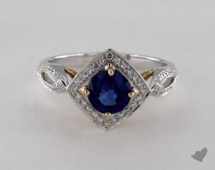 18K Two Tone 1.13ct  Round Blue Sapphire Princess Halo Ring