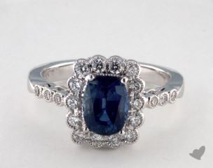 18K White Gold - 1.64ct  - Oval - Blue Sapphire -