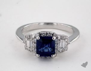 18K White Gold 1.54ct  Emerald Shape Blue Sapphire Ring