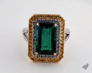 18k two tone - 5.29ct  - Emerald - Green Emerald - Collette Ring