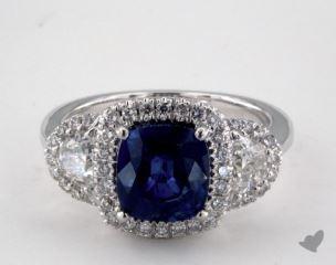 18K White Gold 2.90ct  Cushion Shape Blue Sapphire Ring