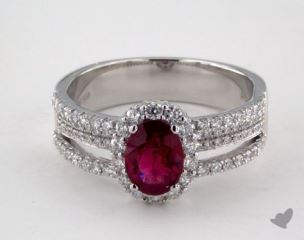 18K White Gold 0.98ct  Oval Shape Ruby Hi Lo Ring