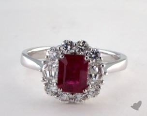 18K White Gold 1.24ct  Emerald Shape Ruby Ring