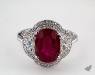 18K White Gold 3.80ct  Oval Shape Ruby Three Stone Ring