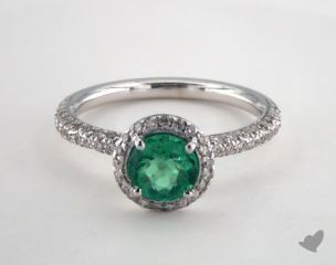 18K White Gold - 0.77ct  - Round - Green Emerald