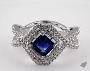 18K White Gold 1.10ct  Asscher Shape Blue Sapphire Pave Frame Ring