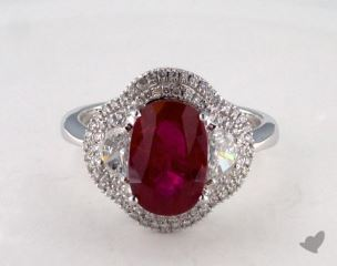 18K White Gold 3.09ct Oval Shape Ruby Three Stone Ring