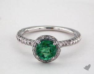 18K White Gold  0.78ct  Round Green Emerald Milgrain Halo Ring
