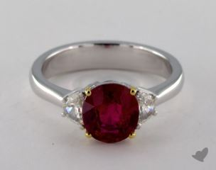 18K Two Tone 1.96ct  Oval Shape Ruby Three Stone Ring