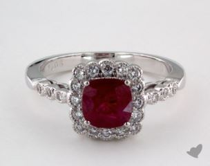 18K White Gold - 1.06ct  - Cushion - Ruby