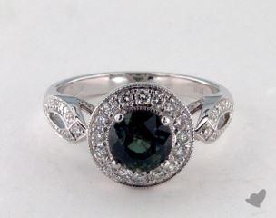 18K White Gold - 1.60ct  - Round - Green Sapphire -