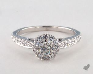 14K White Gold Royal Halo Classic Cathedral Engagement Ring
