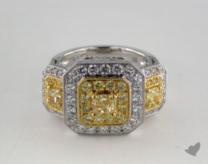 18K Two Tone Gold 2.4ctw Three Stone Cushion Diamond Ring