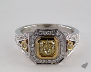 18k Two Tone Gold 1.25ctw Radiant Yellow & Pave Diamond Ring