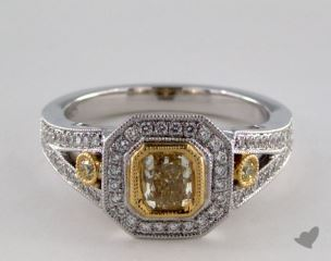 18K Two Tone Gold 0.98ctw Radiant Yellow & White Diamond Ring
