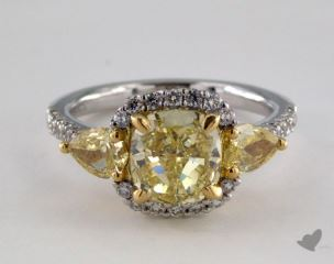 18K Two Tone Gold 3.04ctw 3-Stone Cushion Yellow Diamond Ring