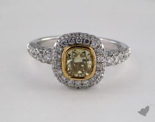 18K White & Yellow 2.23ctw Cushion Yellow & Pave Diamond Ring