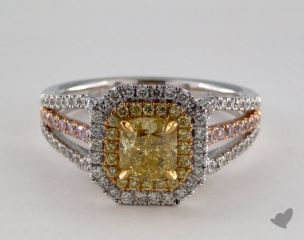 18k Three Tone 1.77ctw Cushion Yellow Diamond Ring